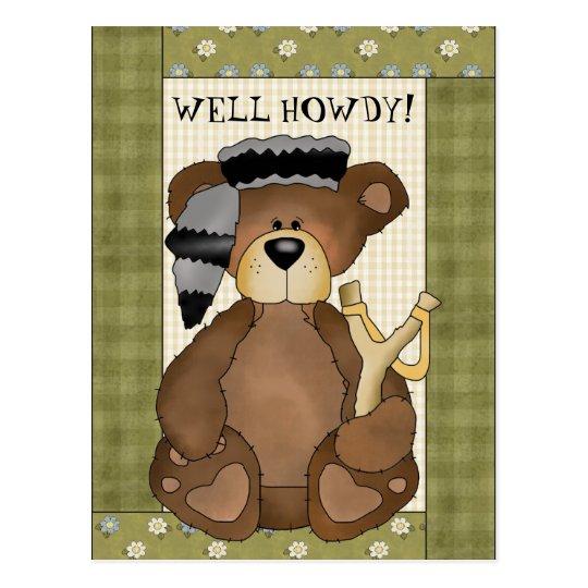 Hillbilly Bear Howdy fun cartoon postcard
