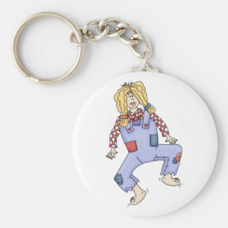 Hillbilly gal basic round button key ring