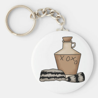 hillbilly-jug and hat basic round button key ring