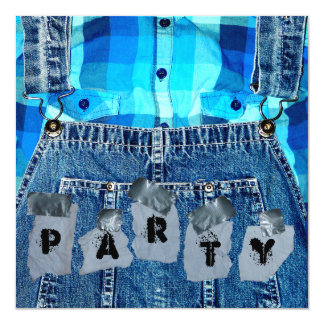Hillbilly Party! Jean Overalls Plaid and Duct Tape 13 Cm X 13 Cm Square Invitation Card