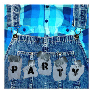 Hillbilly Party Jean Overalls Plaid and Duct Tape Announcements