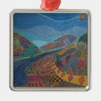 Hills and happiness christmas ornament