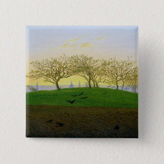 Hills and Ploughed Fields near Dresden 15 Cm Square Badge