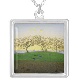 Hills and Ploughed Fields near Dresden Silver Plated Necklace