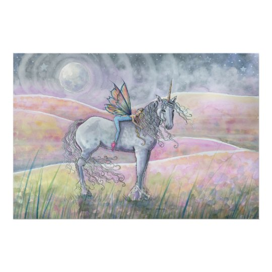 Hills of Enchantment Unicorn and Fairy Fantasy Art