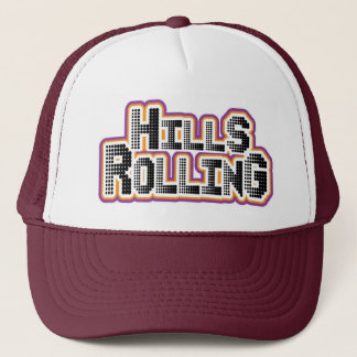 Hills Rolling Trucker Hat with tiny circles logo