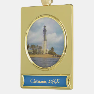 Hillsboro Inlet Light Dated Gold Plated Banner Ornament