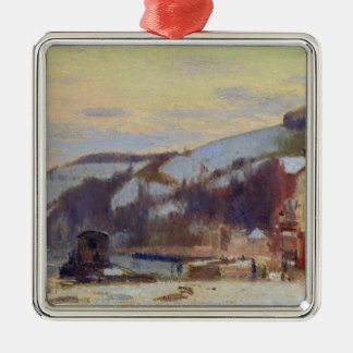 Hillside at Croisset under snow Christmas Ornament