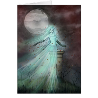 Hillside Ghost Fantasy Halloween Art Card