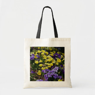 Hillside of Purple and Yellow Pansies Tote Bag