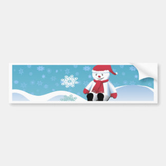Hillside Snowman Bumper Sticker