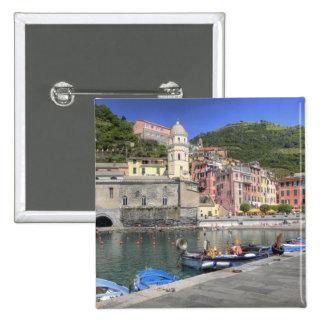 Hillside town of Vernazza, Cinque Terre, Liguria 15 Cm Square Badge