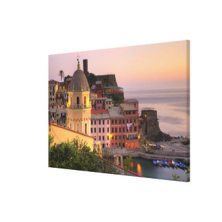 Hillside town of Vernazza in the evening, Cinque Canvas Print