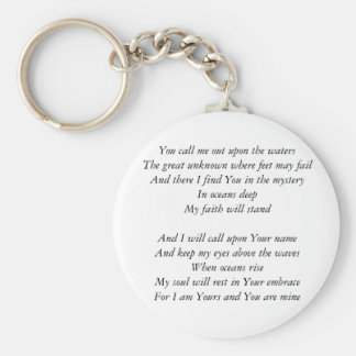 Hillsong United- Oceans lyrics Inspirational Key Basic Round Button Key Ring