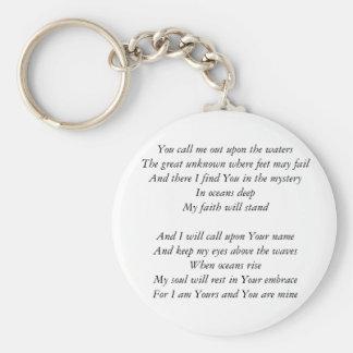 Hillsong United- Oceans lyrics Inspirational Key Key Ring