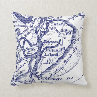 Hilton Head Island SC Vintage Map Navy Blue Cushion