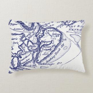 Hilton Head Island SC Vintage Map Navy Blue Decorative Cushion