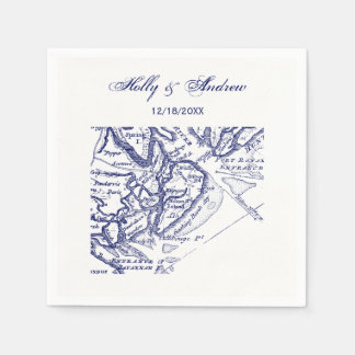 Hilton Head Island SC Vintage Map Navy Blue Disposable Napkin