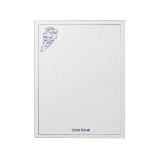 Hilton Head Island SC Vintage Map Navy Blue Notepad