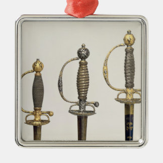 Hilts of three French swords: one of steel Silver-Colored Square Decoration
