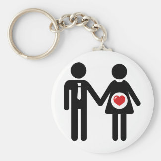 Him and Her Pregnant Basic Round Button Key Ring