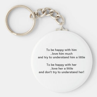 Him and Her Relationships Basic Round Button Key Ring