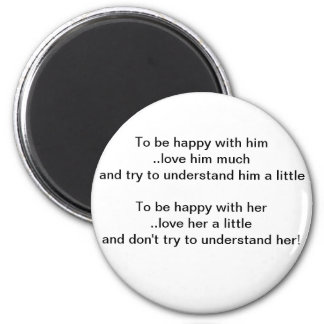 Him and Her Relationships 6 Cm Round Magnet