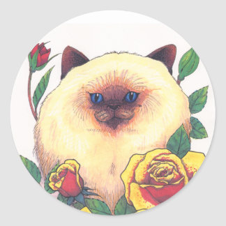 Himalayan and Roses Round Sticker