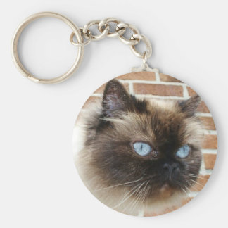 Himalayan cat photo with blue eyes keychain
