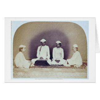 Hindu Brahmins in Delhi, 19th century (sepia photo Card
