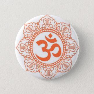 HINDU - BUDDHA SYMBOLS OM,OHM 6 CM ROUND BADGE