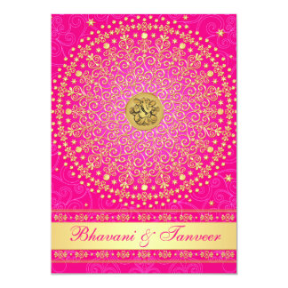 Hindu Ganesh Pink, Gold Scrolls Wedding Invite 2