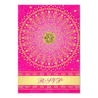 Hindu Ganesh Pink, Gold Scrolls Wedding RSVP Card