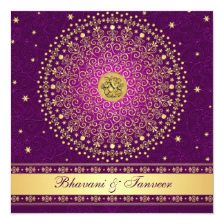 Hindu Ganesh Purple Gold Scrolls Wedding Invite