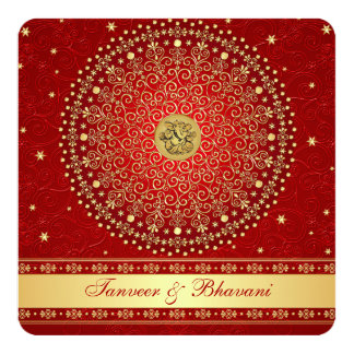 Hindu Ganesh Red, Gold Scrolls Engagement Invite