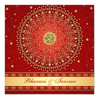 Hindu Ganesh Red, Gold Scrolls Wedding Invite