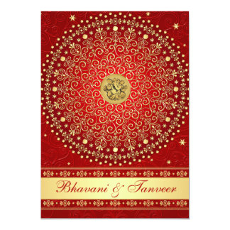 Hindu Ganesh Red Gold Scrolls Wedding Invite 2