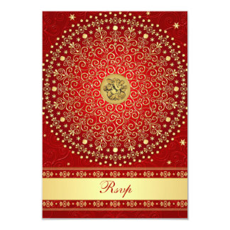 Hindu Ganesh Red Gold Scrolls Wedding RSVP Card 9 Cm X 13 Cm Invitation Card