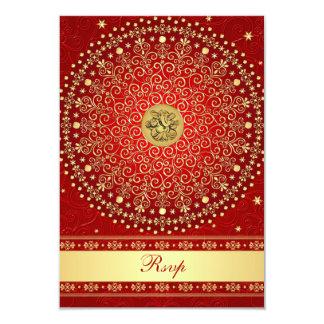 Hindu Ganesh Red Gold Scrolls Wedding RSVP Card 9 Cm X 13 Cm Invitation Card