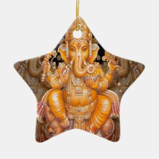 Hindu God Ganesh Ceramic Star Decoration