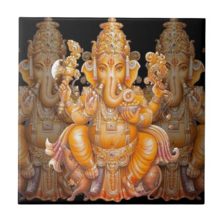 Hindu God Ganesh Small Square Tile