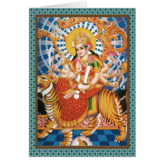 Hindu Goddess Durga With Tiger Cards