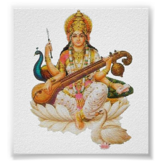 Hindu Goddess Saraswati Godess For art education Poster