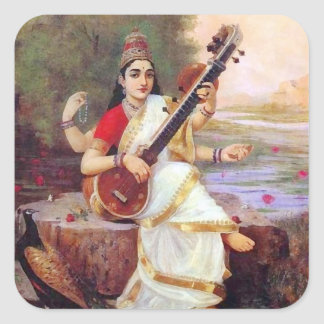 Hindu Goddess Saraswati Square Sticker