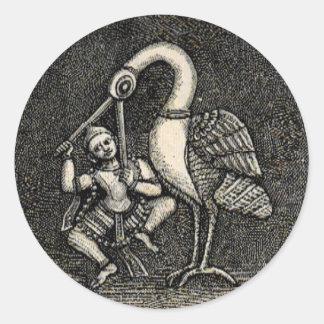 HINDU HERO & HERON (1887) ROUND STICKER