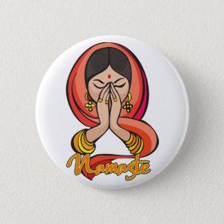 Hindu Namaste 6 Cm Round Badge