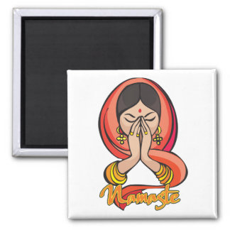 Hindu Namaste Square Magnet