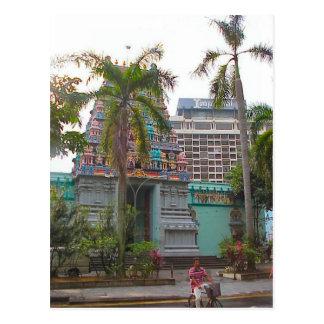 Hindu temple  worship outside the Chattiar temple Postcard