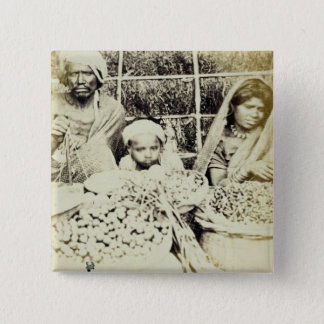 Hindu Vegetable and Fruit Sellers in Madras, 19th 15 Cm Square Badge