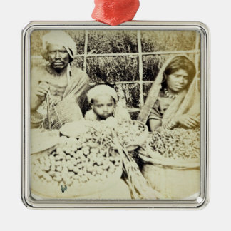 Hindu Vegetable and Fruit Sellers in Madras, 19th Silver-Colored Square Decoration
